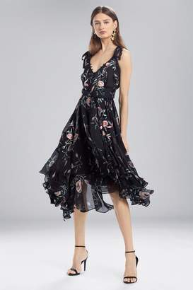 Josie Natori Pressed Flower Printed Silk Chiffon Dress