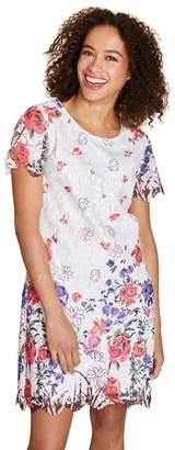 Yumi Ivory Floral Print 'Amber-Rose' Mini Tunic Dress