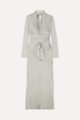The Line By K - Porter Belted Cutout Hammered-satin Midi Dress - Gray
