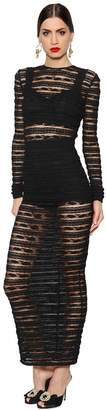 Dolce & Gabbana See-Through Stripes Lace Stretch Dress