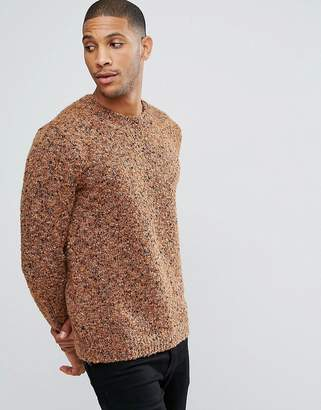 Asos DESIGN Heavyweight Textured Sweater In Rust