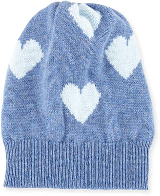 Neiman Marcus Rosie Sugden Cashmere Heart Beanie Hat, Blue/Light Blue