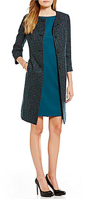 Albert Nipon Metallic Tweed and Satin Dress Suit $415 thestylecure.com