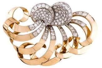 Retro 18K Diamond Swirl Brooch