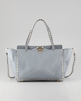Valentino Rockstud Medium Tote Bag, Gray