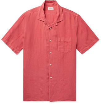 Hartford Palm Camp-Collar Linen Shirt