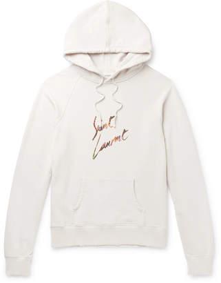 Saint Laurent Logo-Print Loopback Cotton-Jersey Hoodie - Men - Off-white