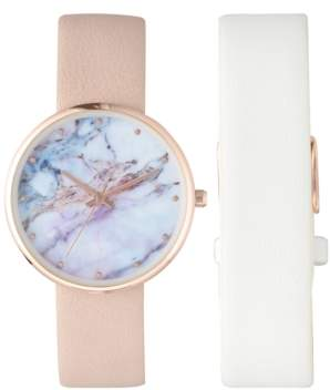 INC International Concepts I.n.c. Women's Pink & White Interchangeable Strap Watch 37mm, Created for Macy's