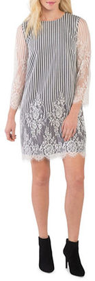 Kensie Stripes and Lace Shift Dress $99 thestylecure.com