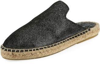 Neiman Marcus Shaba Glitter Leather Flat Espadrille