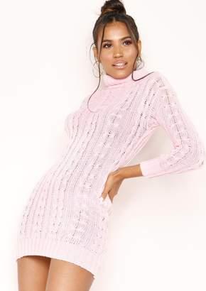 2031df64d1 Missy Empire Missyempire Jenny Baby Pink Chunky Knit High Neck Jumper Dress