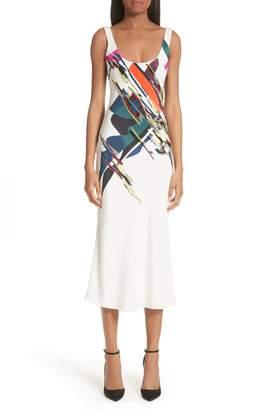 Cushnie et Ochs Devona Beaded Expressionist Print Dress