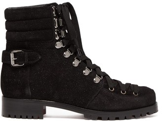 Christian Louboutin Who Runs Glitter Suede Hiking Boots - Womens - Black