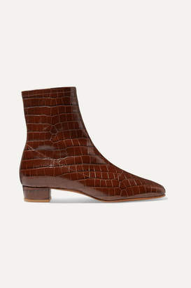 BY FAR - Este Croc-effect Leather Ankle Boots - Dark brown