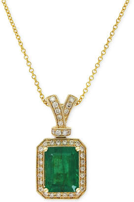 Effy Brasilica by Emerald (2-1/5 ct. t.w.) and Diamond (1/5 ct. t.w.) Pendant Necklace in 14k Gold, Created for Macy's