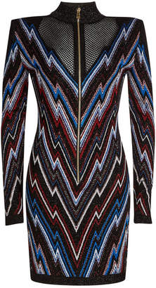 Balmain Chevron Mini Dress with Mesh