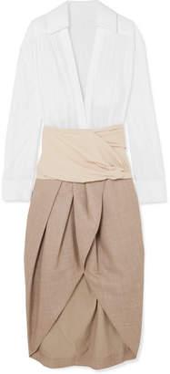 Jacquemus Melao Cotton And Wool-crepe Midi Dress - White