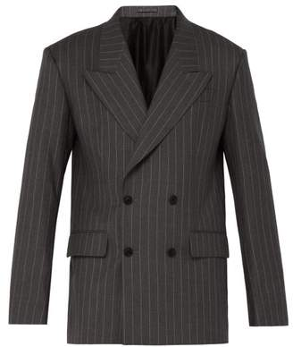 Versace Pinstripe Double Breasted Wool Jacket - Mens - Grey