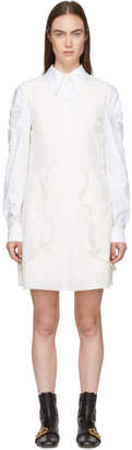 See by Chloe White Crepe Ruffle Dress