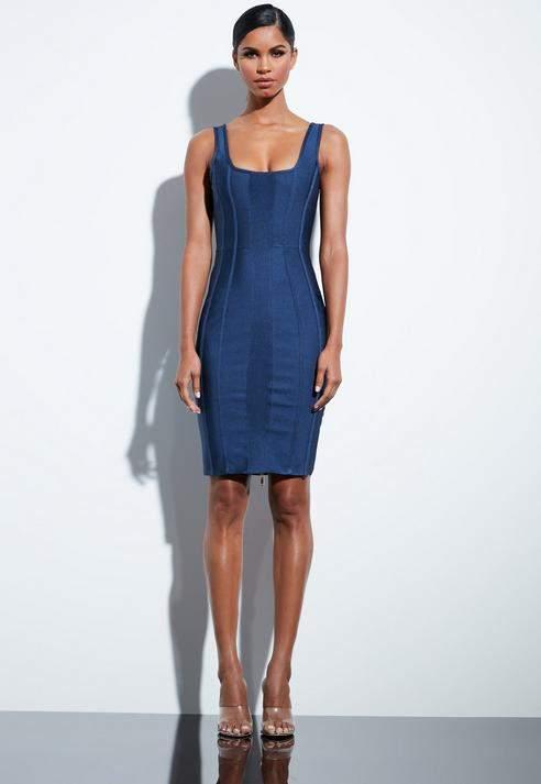 Blue Bandage Midi Dress, Navy