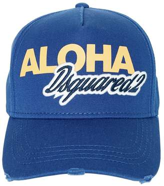 DSQUARED2 Aloha Logo Cotton Canvas Baseball Hat