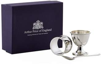 Arthur Price Of England Childs Egg Cup, Napkin Ring and Spoon Set