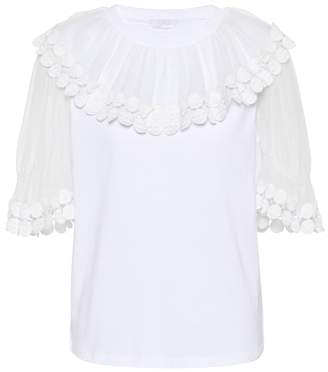 Chloé Silk-trimmed cotton top