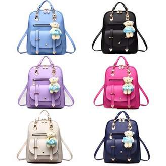 unbrand Cute Fashion Sweet Bear Women PU Leather School College Backpack For Adults Travel Book Bags