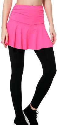 Wantdo Women's Yoga Leggings Layered Mini Skirt Active Sliming Pants (,S)