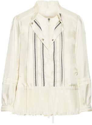Moncler - Mimet Crochet-trimmed Shell Down Jacket - Cream $1,500 thestylecure.com