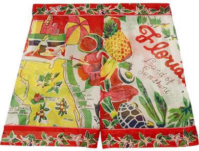 Anna SuiAnna Sui - Florida Printed Silk-jacquard Shorts - Red