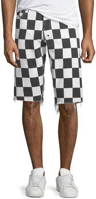 PRPS Men's Checkered Denim Shorts