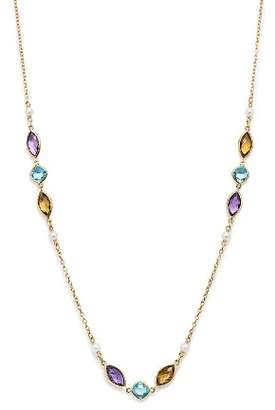 "Bloomingdale's Multi Gemstone & Cultured Freshwater Pearl Station Necklace in 14K Yellow Gold, 30"" - 100% Exclusive"