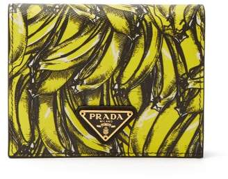 Prada Banana Print Saffiano Leather Wallet - Womens - Yellow Multi