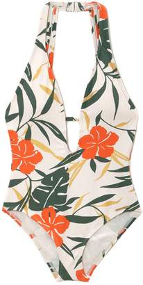 Vince Camuto Tropical-print Plunge-cut One-piece Swimsuit