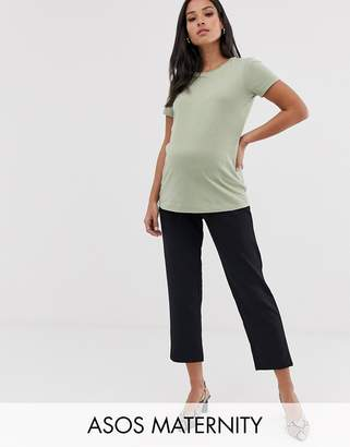 Asos (エイソス) - Asos Maternity ASOS DESIGN Maternity pull on tapered black pants in jersey crepe