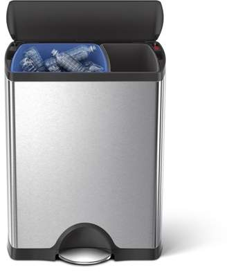 Simplehuman 46 Litre / 12 Gallon Dual Compartment Rectangular Step Trash Can Brushed Stainless Steel, Plastic Lid