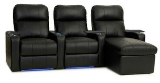 Red Barrel Studio Power Recline Leather Home Theater Sofa (Row of 3) Red Barrel Studio