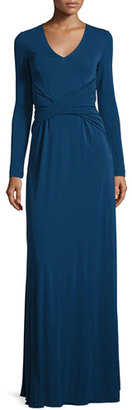 St. John Collection Ruched Matte Jersey V-Neck Gown, Sapphire $1,495 thestylecure.com