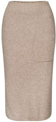 BEIGE PAISIE - Marl Knitted Skirt With Side Pocket & Back Slit
