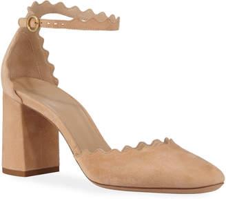 Chloé Lauren Suede Ankle Strap Pumps