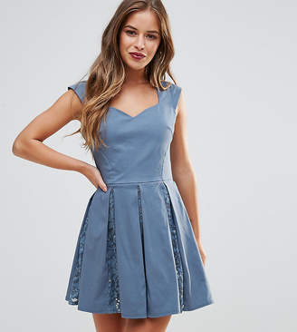 City Goddess Petite Skater Mini Dress With Sequin Pleat Detail