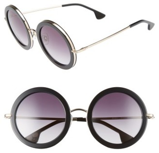 Women's Alice + Olivia Beverly 51Mm Special Fit Round Sunglasses - Black $295 thestylecure.com