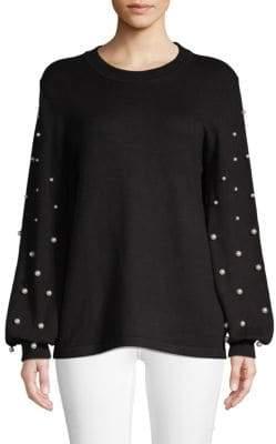Embellished Bishop-Sleeve Sweater