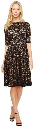 Adrianna Papell 3/4 Sleeve All Over Lace Dress Women's Dress