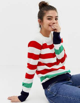 Brave Soul tuscany sweater with contrast stripes