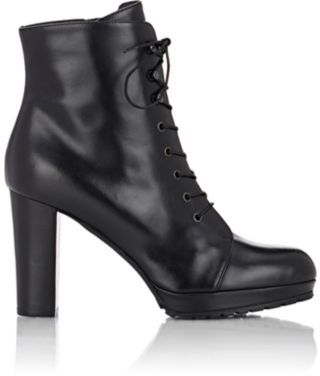 Barneys New York Women's Lace-Up Platform Ankle Boots-BLACK $495 thestylecure.com