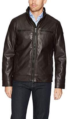 Calvin Klein Men's Fur Lined Faux Leather Jacket