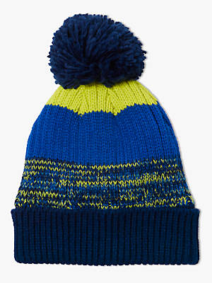 John Lewis & Partners Children's Neon Colour Block Beanie Hat, Blue