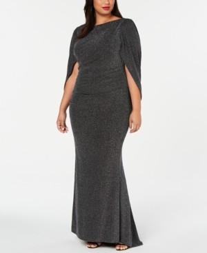 Betsy & Adam Plus Size Metallic Glitter Capelet Gown